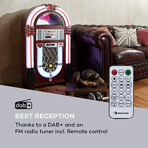 AUNA Graceland Dab Jukebox, Fonction Bluetooth, Lecteur CD, Platine, Tuner Radio Dab+/FM, système d'éclairage à LED SRC, Port USB, entrée SD/AUX, boîtier Design avec Look chêne-Bois