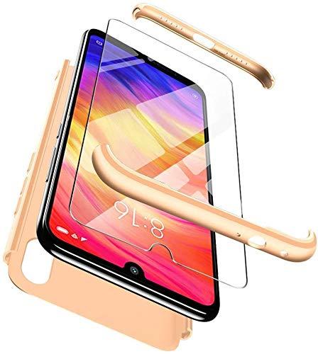 Happy 1st Funda para Xiaomi Mi Mix 2S, 3 in 1 Rígida PC Carcasa Cristal Protector de Pantalla- 360 Grados Protección Cubierta Anti-rasguños Protectora de Teléfono Case Cover -Oro