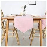 (ライチ) Lychee テーブルランナー テーブルクロス モダン インテリア カバー 北欧風 無地 シンプル パーティー ホームデコレーション エレガント おしゃれ タッセル付き ホームキッチン 30cmx140cm Pink