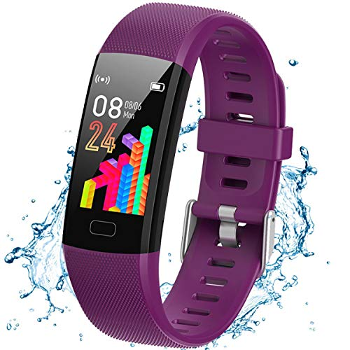 XG Glitter Fitness Tracker Watch for Kids Girls Boys Teens, Activity Tracker, Pedometer, Heart Rate Monitor, Sleep Monitor, Vibrating Alarm Clock, IP67 Waterproof Calorie Step Counter Watch (Purple)