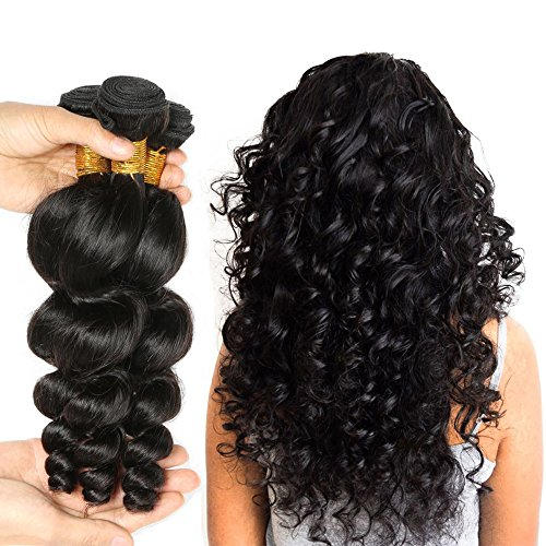 JINREN (TM) Brazilian Virgin Hair Loose Wave Hair Weave 3 Bundles 300g Unprocessed Loose Deep Wave Virgin Human Hair Weave Natural Black 10-28inch (12inch 14inch 16inch)