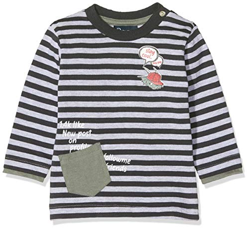 Brums T-Shirt Jersey Rigato con Taschino Camiseta de Manga Larga para Bebés