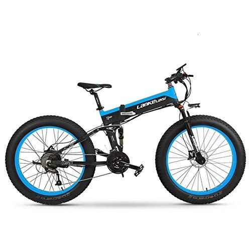 Knewss Bicicleta eléctrica de 26 Pulgadas, Bicicleta Plegable de montaña, batería de Litio, Freno electromagnético EBS, Potencia del Motor 1000W, plegable-36V8AH Azul