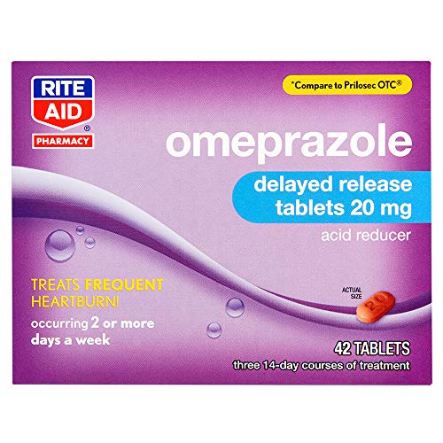 Rite Aid Acid Reducer Omeprazole Delayed Release Tablets, 20 mg - 42 Tablets | Heartburn Relief - Heartburn Medicine - Treats Frequent Heartburn