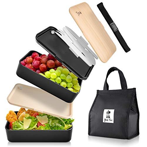 Your Fav . Premium BentoBox Separate Aufteilung Lunchbox Erwachsene zum mitnehmen für Arbeit und Schule Brotdose mit 3 teiligem Besteck Set mit Thermo Tasche Food Brotbox Spülmaschinengeeignet