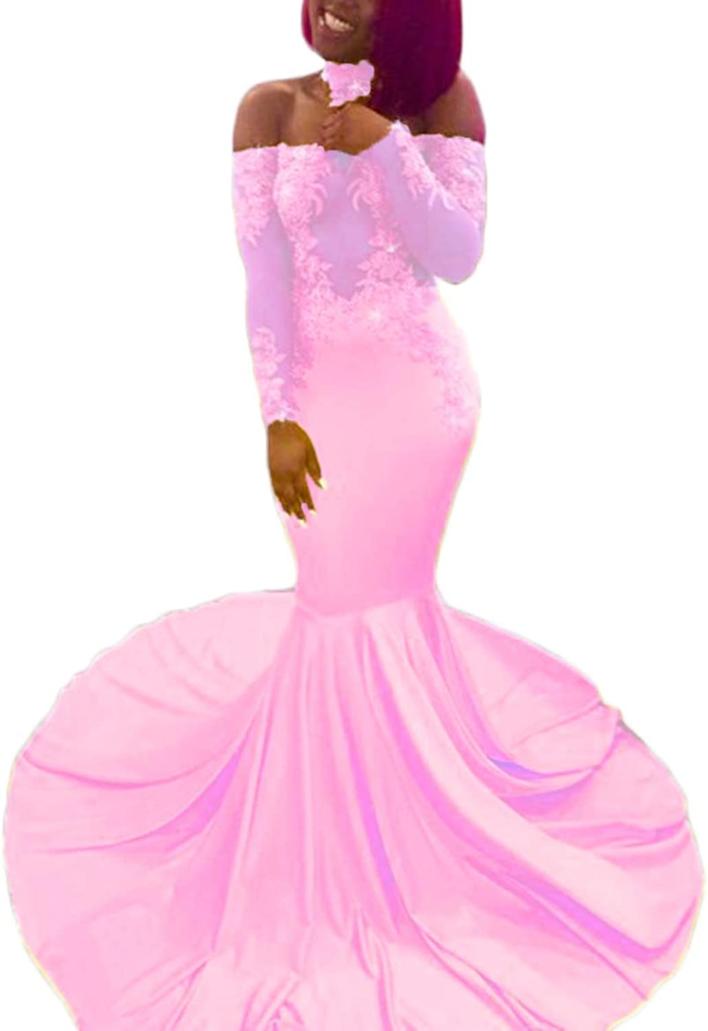 Alilith.Z Sexy Off The Shoulder Prom Dresses Appliques Mermaid Long Sleeve Evening Party Dresses for Women with Choker