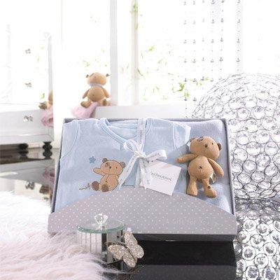 Izziwotnot - Coffret cadeau 3 pièces Cherish, de luxe - bleu - 6 à 9 mois