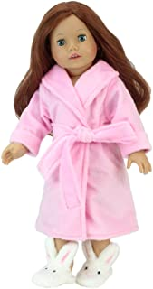 Sophia's Fits American Girls Dolls - 18 Inch Dolls Pink Robe and Bunny Slippers Set