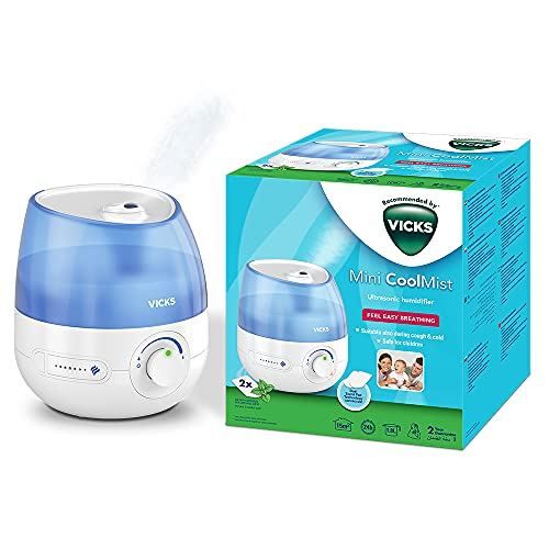 Vicks Mini Cool Mist Ultrasonic Humidifier (Compact, Quiet, for Better Sleep, Cough and Cold, Comfort, Essential Oils, Humidity, Rooms up to 15m2) VUL525