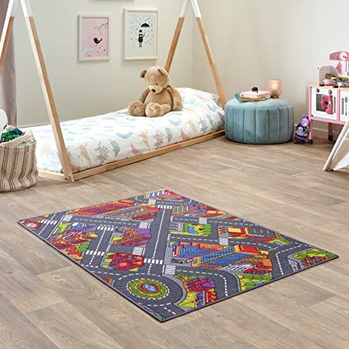 Carpet Studio Teppich Kinderzimmer 95x133cm, Spielteppich Straße Jungen & Mädchen für Schlafzimmer & Spielzimmer, Antirutsch, 30°C waschbar - Big City
