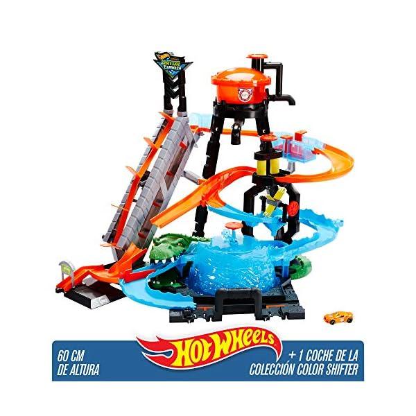 Hot Wheels Cocodrilo Destructor, pista de coches de juguete (Mattel FTB67)