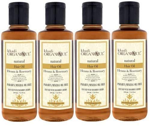 Glamorous Hub Khadi Organique Heena Rosemary Natural Hair Oil Paraben & Miniral Oil Free Pack de 4 (el embalaje puede variar)
