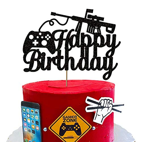 Vivicraft Black Video Game Birthday Cake Topper for Party Decorations, Kids Happy Birthday Video Gaming Party Cake Toppers Gamer Party Supplies Boys (6.7'' x 4.9'')