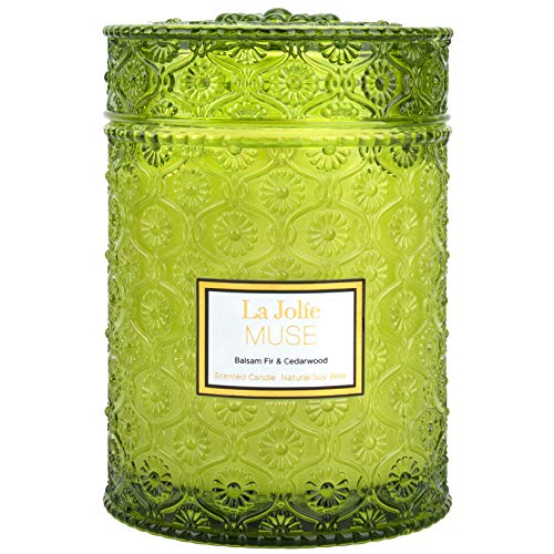 LA JOLIE MUSE Balsam Fir & Cedarwood Scented Candle, 100% Natural Soy Candle for Home, Christmas Candles, 65-80 Hours Long Burning, Large Glass Jar, 550g
