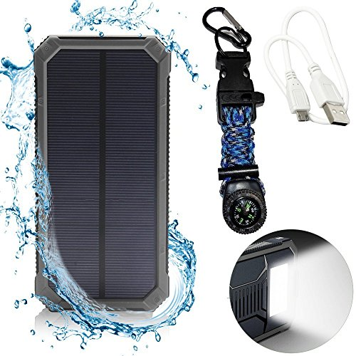Emergency Backup Solar Phone Charger 12000mAh - LED Flashlight and Waterproof - Includes Compass, Paracord, Fire Starter and Carabiner Clip - Solar Power Bank - Solar Battery - Portable Charger …