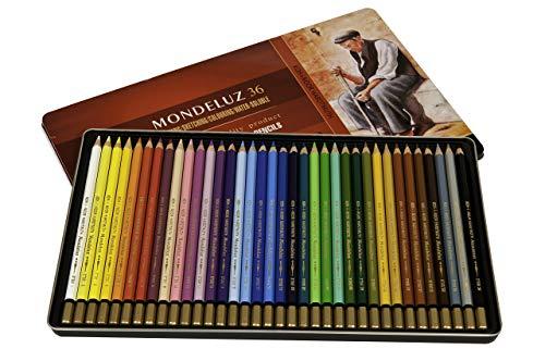 Koh-I-Noor Mondeluz Aquarelle Watercolor Pencil Set, 36 Assorted Colored Pencils in Tin, 1 Each (FA3725.36)