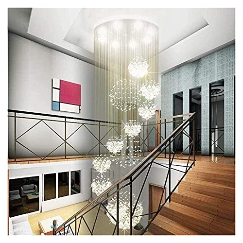 LATOO Lámparas de araña Araña, moderna, espiral, 11 bolas, gota de lluvia, araña de cristal, grande, instalación empotrada, luz de techo alto para zona de entrada, vestíbulo, escalera, 3m de ancho x 5