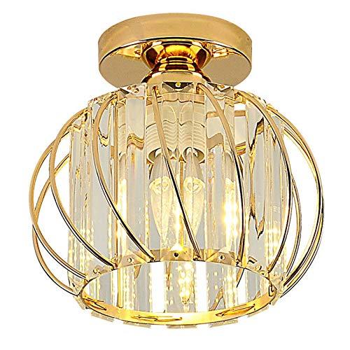 Hudi Fyier Luminaires de plafond à cristaux, petit plafonnier à encastrer à LED pour cuisine couloir salles à manger salons bar (Gold)