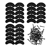 GOETOR Heel Plates 30 PCS Rubber Shoes Heel Taps Tips Repair Pad Replacement Medium Size with Nails (Black)