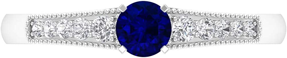 4.00 MM Round Cut Lab Created Blue Sapphire HI-SI Ring Diamond Special price for OFFicial shop a limited time