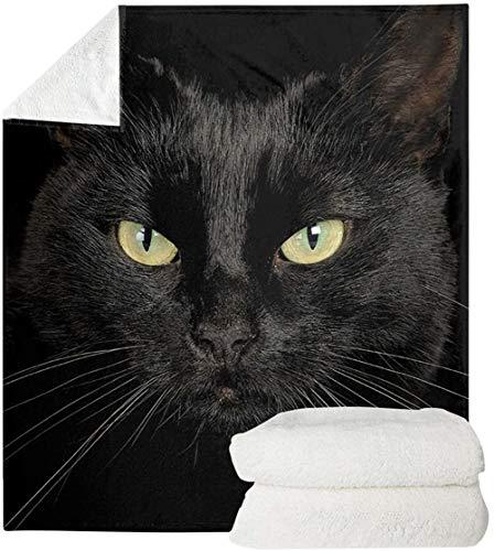 SEANATIVE Manta de franela con estampado de gato negro, supersuave, cálida, felpa, ligera, acogedora, para sala de estar, tamaño XL