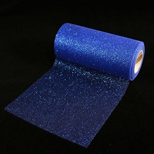 Rollo de cinta de tul brillante con purpurina de 6 pulgadas de ancho y 25 yardas de longitud para tutú, decoración de boda camino de mesa, azul real