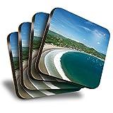 Destination Vinyl ltd Great Posavasos (juego de 4) cuadrados – San Juan del Sur, Nicaragua, playa, viajes, bebidas, brillante, protección de mesa para cualquier tipo de mesa #24140