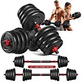 MOVTOTOP Adjustable Dumbbells Set, 5/15/25/35/66lbs, Solid Free Weight Dumbbells Sets with Connecting Rod and Non-Slip Handle, 2 in 1 Barbell Weight Set for Men & Women Home Gym Exercise & Fitness