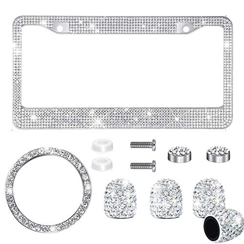 CHLSD 6 Pieces Bling Crystal Car Accessories Set Includes Bling License Plate Frame, Ring Emblem Sticker, Valve Stem Caps Tire Valve Dust Caps for Women Girls (Bling White)