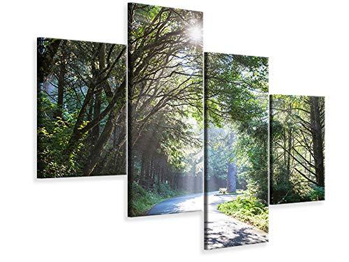 Canvarto Tableau sur Toile en 4 Parties Moderne Chemin forestier ensoleillé, 120x90cm (2x30x75cm, 2x30x45cm) | Tableau sur Toile avec Crochet de Suspension | Impression sur Toile