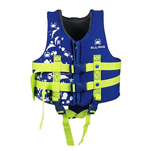 PROTAURI Bambini Giubbotto da Nuoto - Ragazze Ragazzi Giubbotto Galleggiante Bambino Gilet Swim Vest Neoprene Costume da Bagno Imparare a Nuotare Aiuto 1-9 Anni/Bleu
