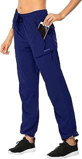Women's Cargo Hiking Pants Elastic Waist Quick Dry Lightweight Outdoor Water Resistant UPF 50+ Long Pants Zipper