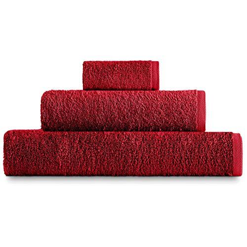 Eiffel Textile Juego de Toallas Calidad Rizo 400 gr, Algodón Egipcio 100%, Granate, 1x Sabana 1x Lavabo 1x Tocador, 3 Unidades