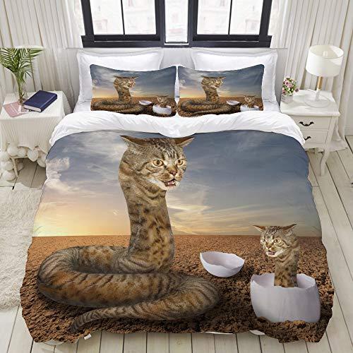 NISENASU Soft - Juego de Ropa de Cama Funda de edredón de 3 Piezas,Gato Parece una Gran Serpiente Peluda,de Edredón Incluye 1 Funda Nórdica 140 x 200cm y 2 Funda de Almohada 50 x 80 CM