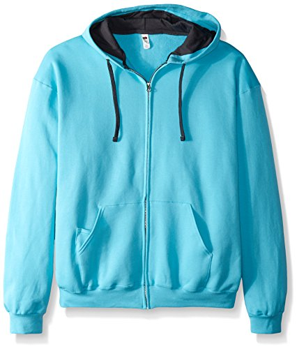 Fruit of the Loom Men's Full-Zip Hooded Sweatshirt, Scuba Blue, Medium