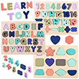Wooden Puzzles for Toddlers, Voamuw Alphabet Number Shape Puzzle for Kids Ages 2 3 4 5, Toddler...