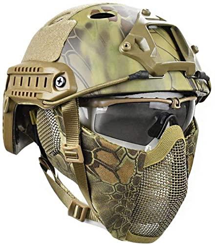 QQTQQ Casco Protector Airsoft Paintball Cascos tácticos rápidos con máscara de Malla de Acero Juego CS Jungle Hiding Camuflaje Cosplay Juego Casco Gear,MA