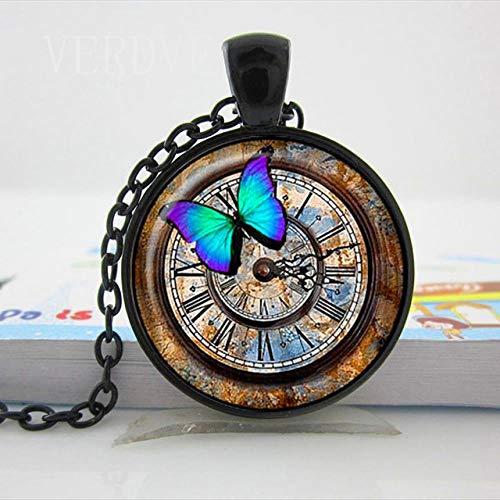 XCWXM - Collar de mujer largo con cabujón de cristal - Collar con reloj Steampunk - Collar con cúpula de cristal - Joyas hechas a mano - Modelo mariposa, color negro