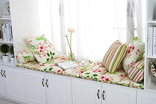 NVBJHGBTBYFTG 100% Cotton Bay Window Cushion,Sill Cushion Retro Sofa mat Rug Bay Window Cushion Cover Seats sill pad Floating Window pad Thicken-A 60x168cm(24x66inch)