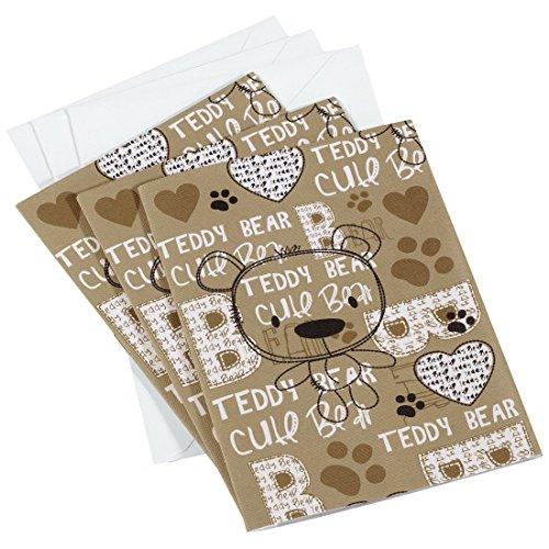 Hama Mini Einsteck-Fotoalbum Set (3x Einsteckalben mit je 8 Seiten, für Fotos im Format 10x15 cm, inkl. 3 Briefumschläge, Motiv Teddy-Bär) Babyfotoalbum braun