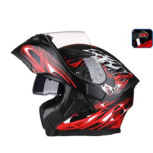 OUTO Uncovering Casque Moto équitation extérieure LED feu arrière Avertissement HD Anti-Brouillard Miroir Casque intégral Visage et Les Hommes Cool (Couleur : Black Red Devil, Taille : XL)