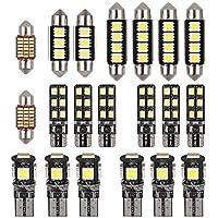 Justech 20 PCS Coche LED Bombillas Luz de Coche Interior 6000K para el Interior del Coche Domo Mapa Puerta Cortesía Luces de Matrícula Festoon C5W T10 168194 2825 Xenón Blanco