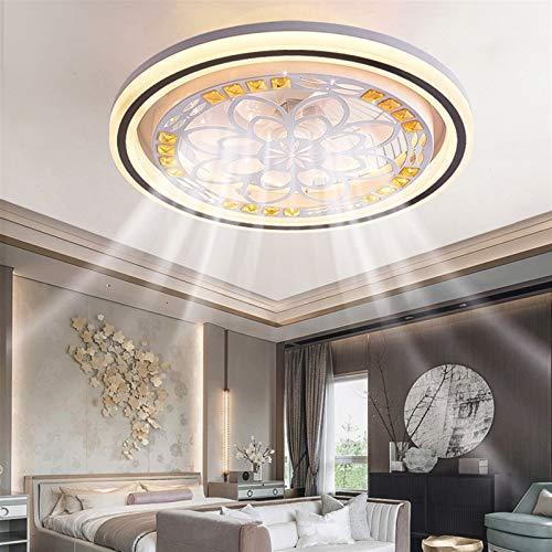 Lámpara De Ventilador Silenciosa Stealth Creativa, Ventilador De Techo con Luz Y Control Remoto, Lámpara De Techo De Velocidad De Viento Ajustable, LED Regulable