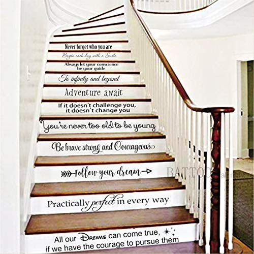 BATTOO Stairway Decals Die Cut Inspirational Quotes Vinyl Wall Sticker for Stairs Staircase Decor Set 11 Family Decor Home Art Housewarming Gift up to 28