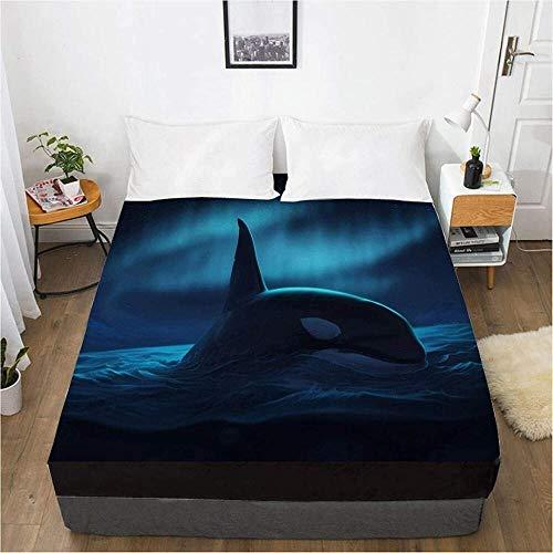 3D Bettlaken Blatt Matratze Spanndecke Custom Design Bettwäsche Bettlaken Meerestiere Delphin Bedruckte Bettwäsche-200x200 tief 30cm_4