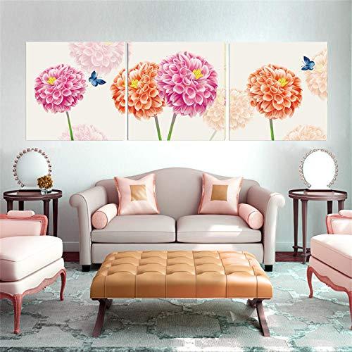 Lienzo Arte de la pared Pintura Flores de rosas Decoración Carteles e impresiones de la habitación Minimalismo para la sala de estar Decoración de la habitación de los niños (60x60cm) X3 Sin marco