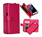 iPhone 6 Plus Wallet Case, Hynice iPhone 6S Plus Wallet Purse Case Leather Zipper Case with Credit Card Slots and Magnetic Detachable Slim Cover for iPhone 6 Plus/6S Plus 5.5\'(Litchi-Rose)