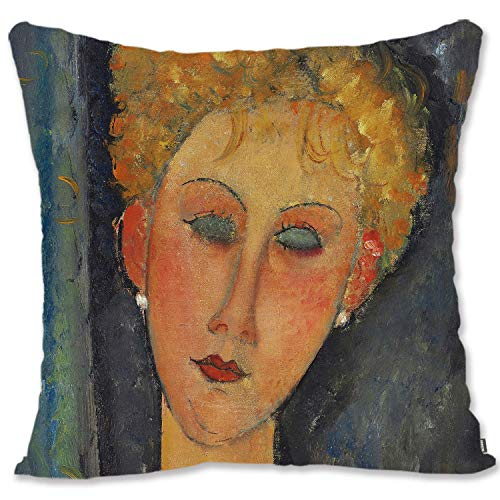 BONNIU Throw Pillow Case Cover Decorative 60X60 cm Velvet Cushion Cover Zipped Vintage Girl Art Pillow Protector Euro Pillow Sham for Couch Bed - Modigliani - The Blonde The Earrings
