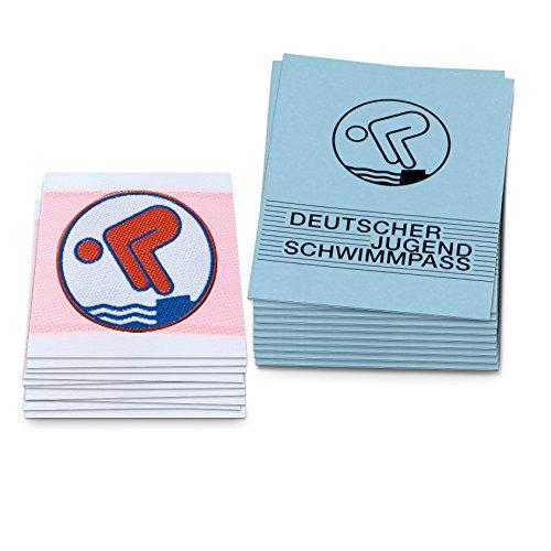 25er Set Bronze eckig Jugend-Schwimmabzeichen inkl. Zeugnissen (50 Teile)