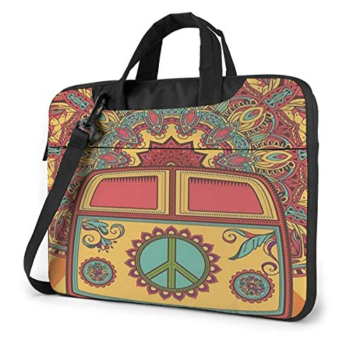 Hippie Vintage Mini Van Peace Sign Laptop Bag Briefcase Shoulder Mesenger Bag for Women Men 13 Inch